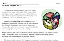 Print <i>Author's Purpose P.I.E.</i> reading comprehension.