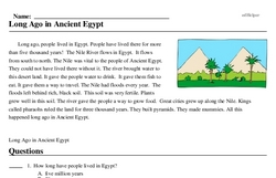 Print <i>Long Ago in Ancient Egypt</i> reading comprehension.
