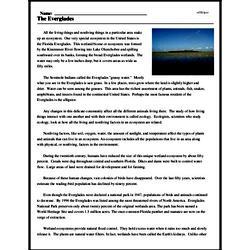Print <i>The Everglades</i> reading comprehension.