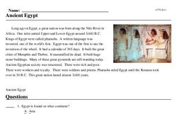 Print <i>Ancient Egypt</i> reading comprehension.