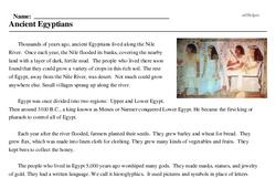 Print <i>Ancient Egyptians</i> reading comprehension.