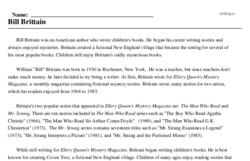 Print <i>Bill Brittain</i> reading comprehension.
