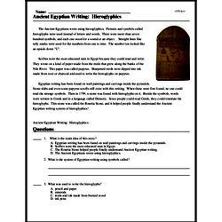 Print <i>Ancient Egyptian Writing: Hieroglyphics</i> reading comprehension.