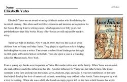 Print <i>Elizabeth Yates</i> reading comprehension.