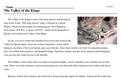 Print <i>The Valley of the Kings</i> reading comprehension.