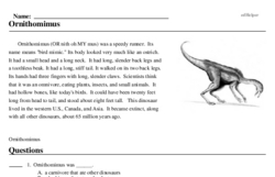 Print <i>Ornithomimus</i> reading comprehension.