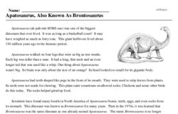 Print <i><i>Apatosaurus</i>, Also Known As <i>Brontosaurus</i></i> reading comprehension.