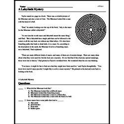 Print <i>A Labyrinth Mystery</i> reading comprehension.
