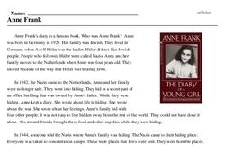 Print <i>Anne Frank</i> reading comprehension.