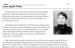 Print <i>Laura Ingalls Wilder</i> reading comprehension.