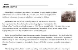 Print <i>Albert Marrin</i> reading comprehension.