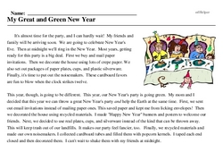 Print <i>My Great and Green New Year</i> reading comprehension.