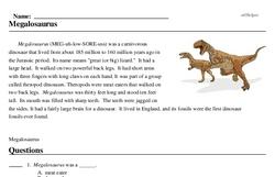Print <i><i>Megalosaurus</i></i> reading comprehension.