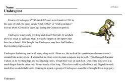 Print <i><i>Utahraptor</i></i> reading comprehension.