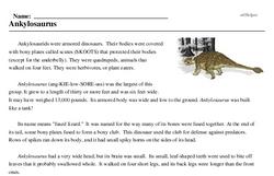 Print <i><i>Ankylosaurus</i></i> reading comprehension.