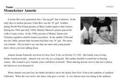Print <i>Mouseketeer Annette</i> reading comprehension.