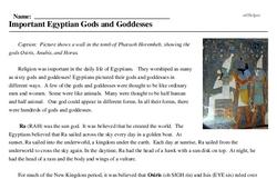 Print <i>Important Egyptian Gods and Goddesses</i> reading comprehension.