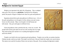 Print <i>Religion in Ancient Egypt</i> reading comprehension.