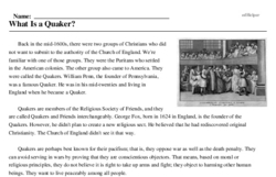 Print <i>What Is a Quaker?</i> reading comprehension.