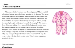 Print <i>What Are Pajamas?</i> reading comprehension.
