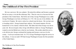 Print <i>The Childhood of Our First President</i> reading comprehension.
