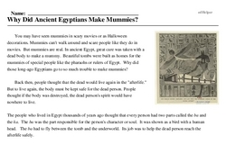 Print <i>Why Did Ancient Egyptians Make Mummies?</i> reading comprehension.