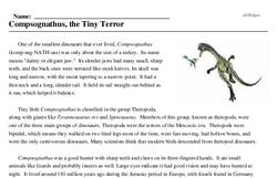 Print <i><i>Compsognathus</i>, the Tiny Terror</i> reading comprehension.