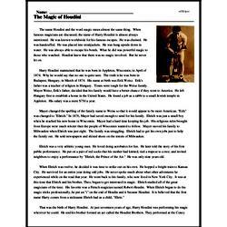 Print <i>The Magic of Houdini</i> reading comprehension.