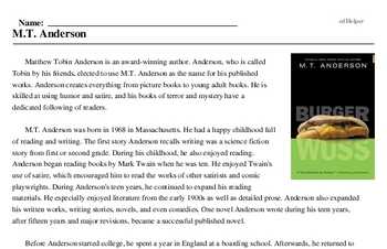 Print <i>M.T. Anderson</i> reading comprehension.