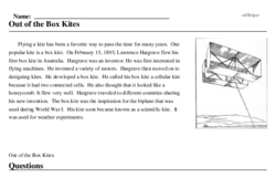Print <i>Out of the Box Kites</i> reading comprehension.