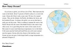 Print <i>How Many Oceans?</i> reading comprehension.