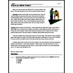 Print <i>What Is an Athletic Trainer?</i> reading comprehension.