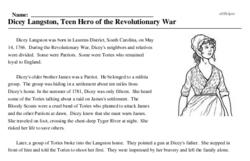Print <i>Dicey Langston, Teen Hero of the Revolutionary War</i> reading comprehension.