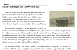 Print <i>Elizabeth Burgin and the Prison Ships</i> reading comprehension.