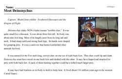 Print <i>Meet <i>Deinonychus</i></i> reading comprehension.