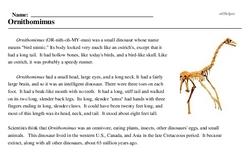 Print <i><i>Ornithomimus</i></i> reading comprehension.