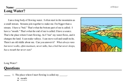 Print <i>Long Water?</i> reading comprehension.