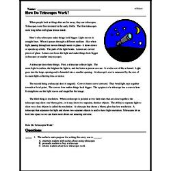 Print <i>How Do Telescopes Work?</i> reading comprehension.