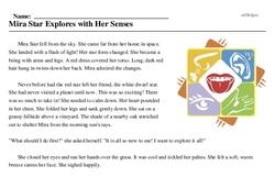 Print <i>Mira Star Explores with Her Senses</i> reading comprehension.