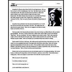 Print <i>Jackie O</i> reading comprehension.