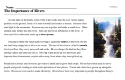 Print <i>The Importance of Rivers</i> reading comprehension.