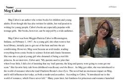 Print <i>Meg Cabot</i> reading comprehension.