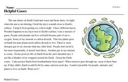 Print <i>Helpful Gases</i> reading comprehension.