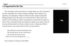 Print <i>A Fingernail in the Sky</i> reading comprehension.