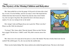 Print <i>The Mystery of the Missing Children and Babysitter</i> reading comprehension.