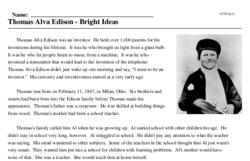 Print <i>Thomas Alva Edison - Bright Ideas</i> reading comprehension.