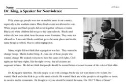 Print <i>Dr. King, a Speaker for Nonviolence</i> reading comprehension.