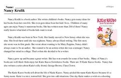 Print <i>Nancy Krulik</i> reading comprehension.