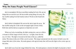 Print <i>Why Do Some People Need Glasses?</i> reading comprehension.