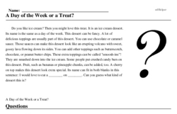 Print <i>A Day of the Week or a Treat?</i> reading comprehension.